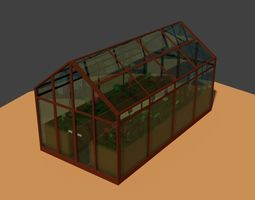 Low Poly Greenhouse 2 3D asset