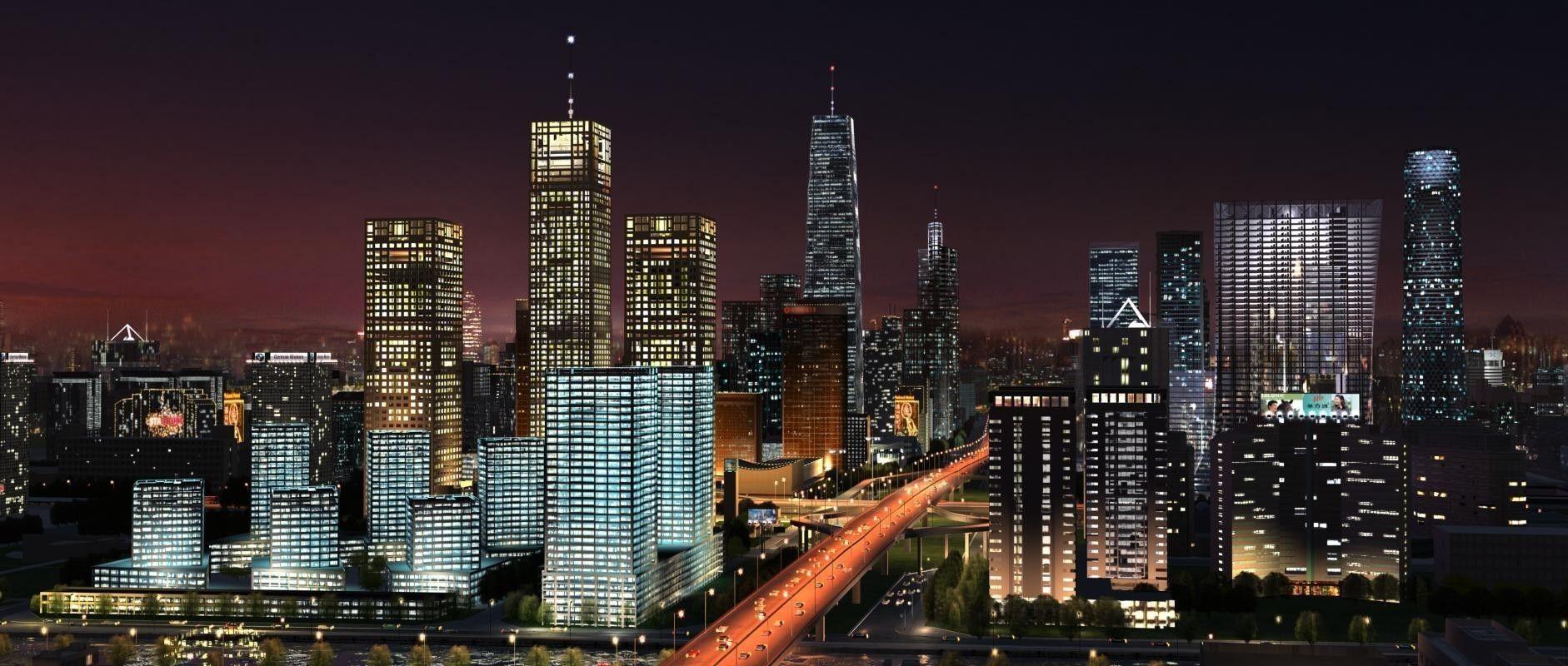 Big City Night Scene
