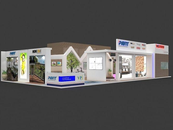 exhibition 3d model 20x10 mtr 3 sides open tiles-ceramic stall 3d model max 1
