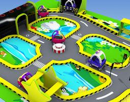 cartoon racing tracks 3D model