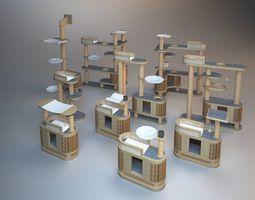 3D Wooden Cat Tree Construction