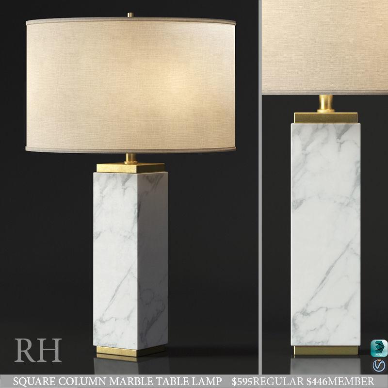 Rh Square Column Marble Table Lamp 3d Model Max Obj 3ds Fbx Mtl Mat 1 ...