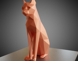 Sitting cat low poly 3D print model