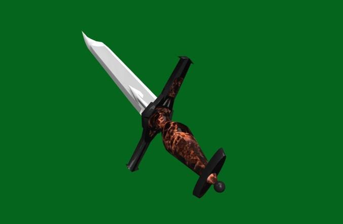 fantasy battle sword - dirk   for 3d games 3d model low-poly fbx 1