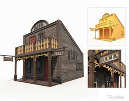 Western Bank Low Poly PBR 3D model