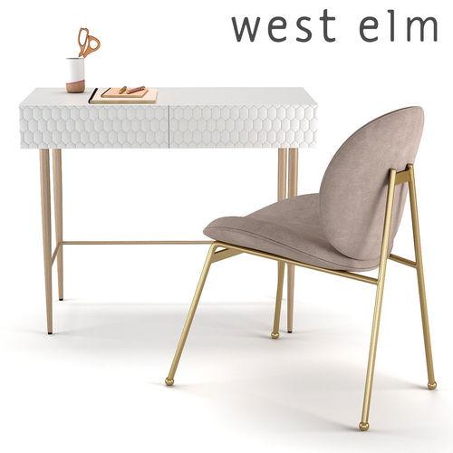 west elm dining chairs 3D West Elm Audrey Mini Desk and Jane Dining Chair west elm dining chairs