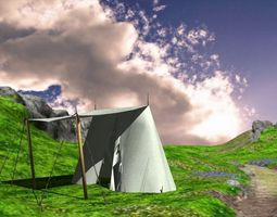 Medieval wedge tent 3D