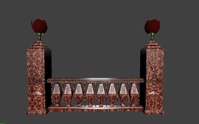 architectural balustrade - 5 swords and tulips for 3d games 3d model fbx 1