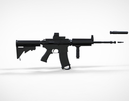 3D asset M4A1 - High Poly Low Poly