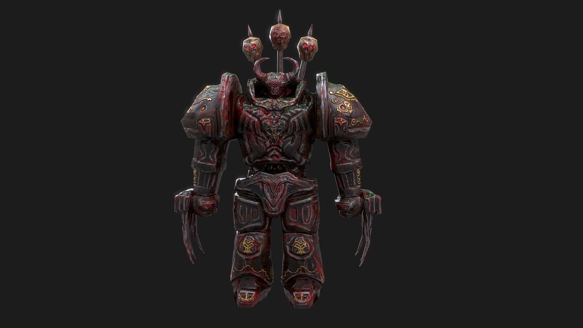 3d low poly model of Chaos Warrior character | 3D model