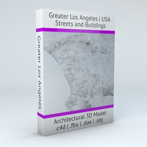 greater los angeles streets and buildings 3d model obj mtl fbx c4d dxf blend dae 1