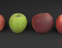 3D Scanned apple collection 01 low-poly