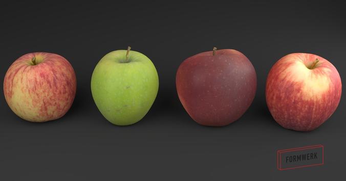 3d scanned apple collection 01 3d model low-poly obj mtl blend 1