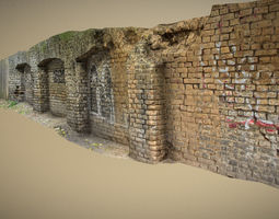 Scanned photorealistic brick and wood crumbling 3D model 1