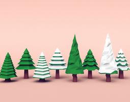 3D model Set of coniferous trees