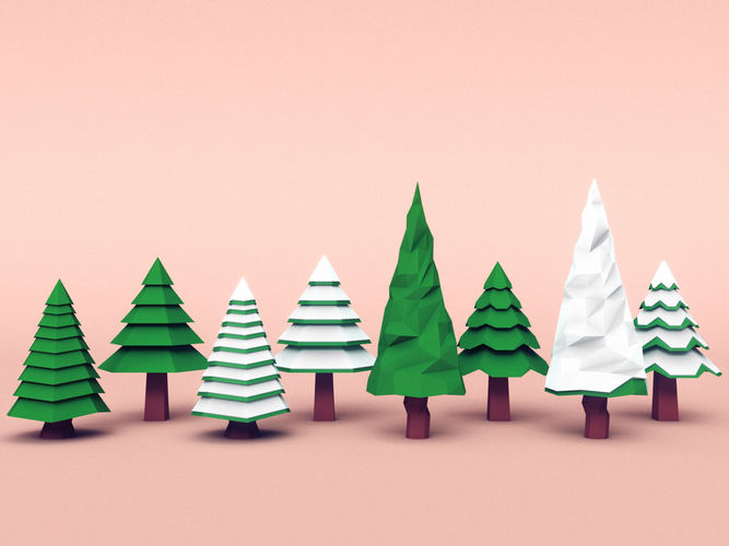 set of coniferous trees 3d model low-poly max obj mtl fbx 1