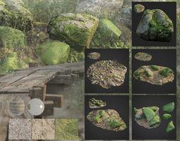 3D asset mossy stones bundle 001