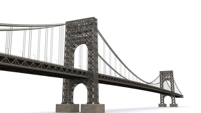 george washington bridge 3d model max obj fbx mtl 1