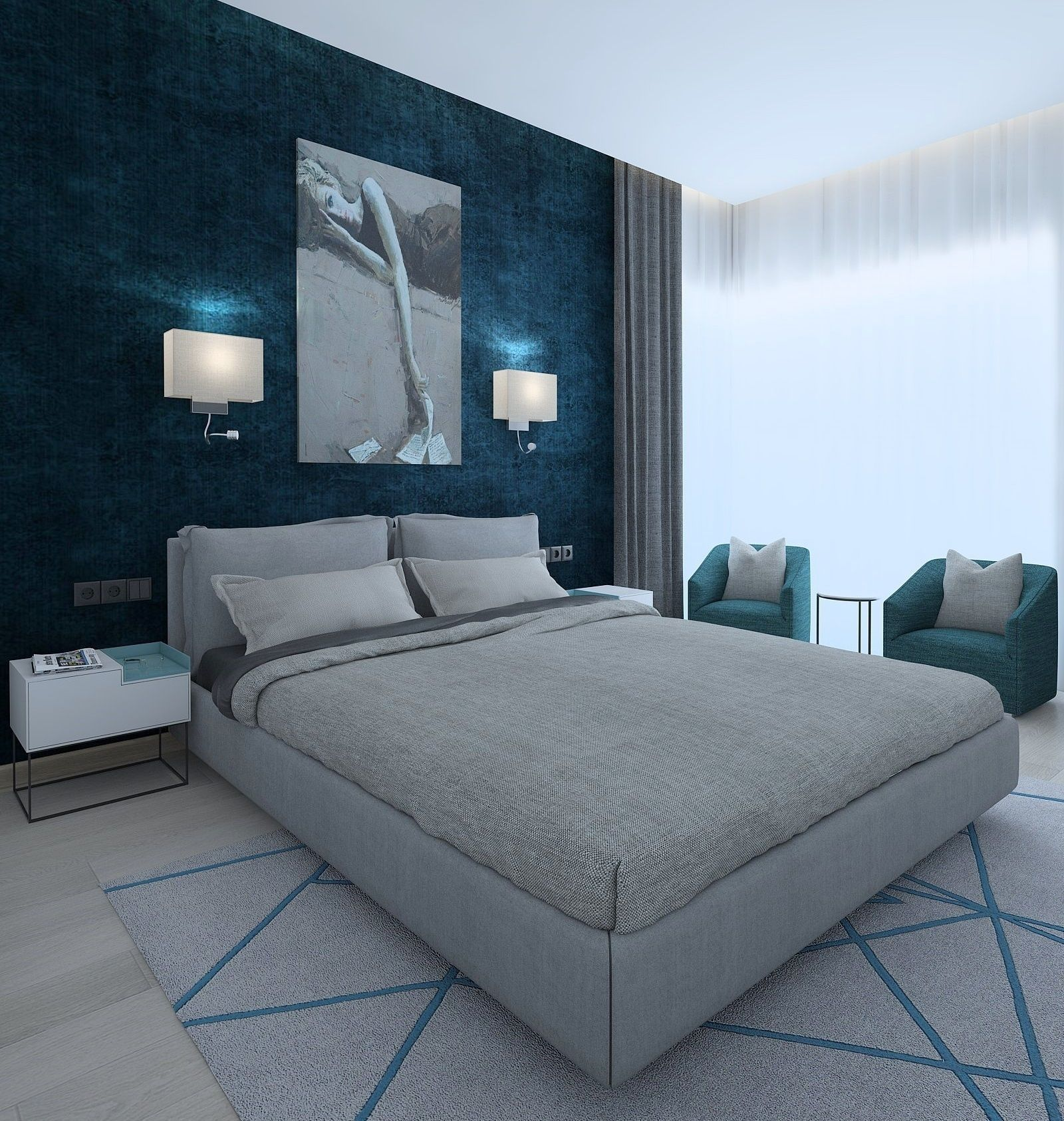 Modern bedroom with green wallpaper | 3D model