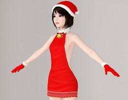 T pose nonrigged model of Chiharu in Christmas 3D