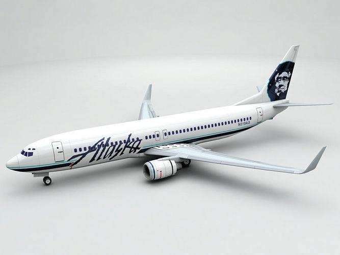boeing 737-800 ng airliner - alaska airlines 3d model low-poly max obj mtl 3ds dxf stl wrl wrz 1