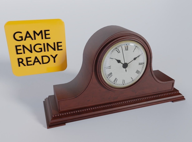 Vintage Mantel Tabletop Clock 3D Model