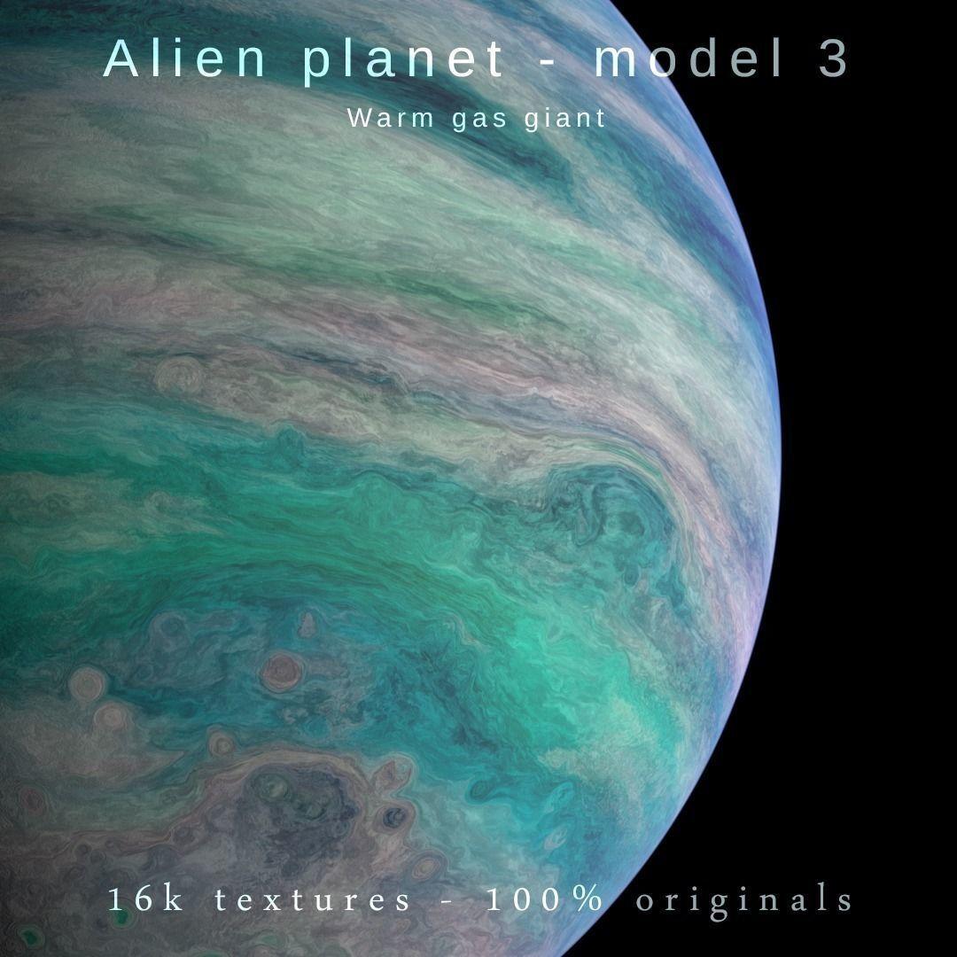 Alien planet model 3 - 16k photorealistic -warm gas giant | 3D model