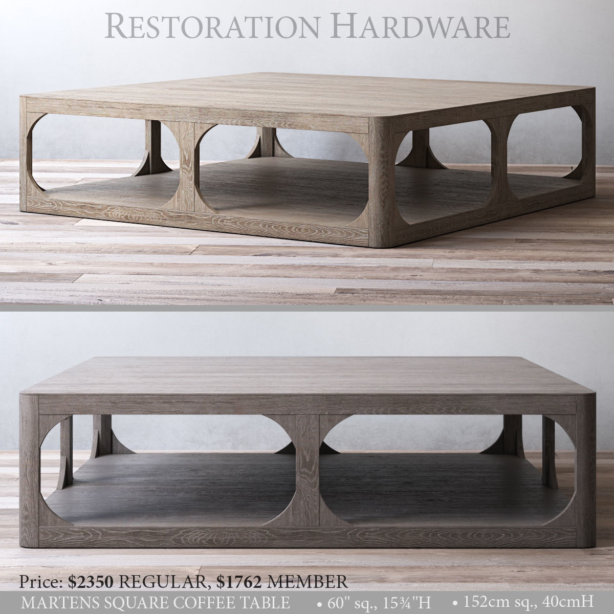 - RH MARTENS SQUARE COFFEE TABLE 3D CGTrader