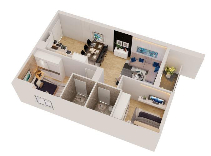 Cutaway Apartment Full Furnitures In Modern Design 48D 48 Custom Apartment Designer Online Model
