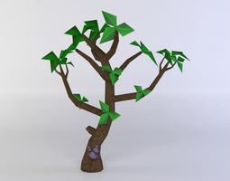 VR / AR ready green tree 3d model