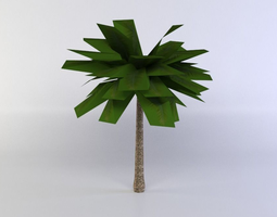 realtime green palm tree 3d asset