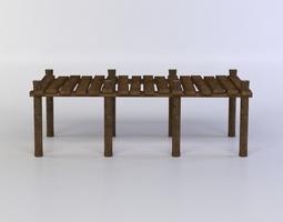 wooden pier 3d model game-ready