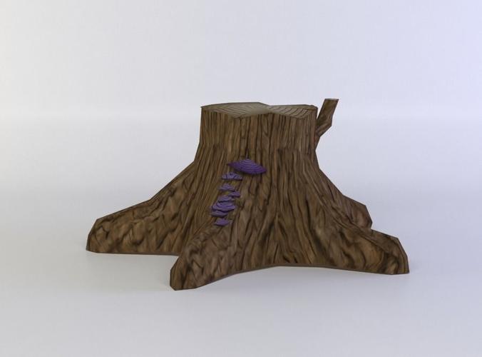 tree trunk 3d model low-poly obj mtl fbx c4d lwo lw lws dae X 1