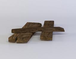 low-poly 3d model planks