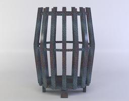3d model barrel lamp low-poly