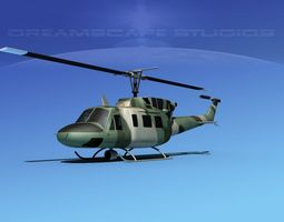 rigged bell uh-1n army forest gunship 3d