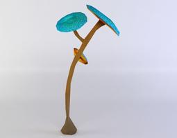 VR / AR ready 3d model blue mushrooms
