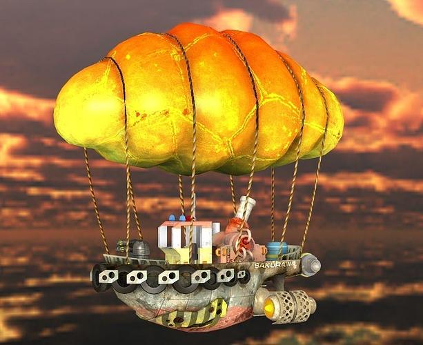 steam punk tug boat 3d model low-poly obj mtl fbx dae ply gltf glb 1