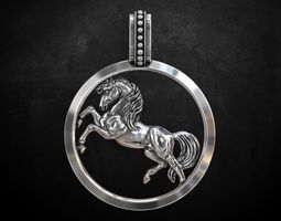 Pendant with a horse stylish 233 3D print model