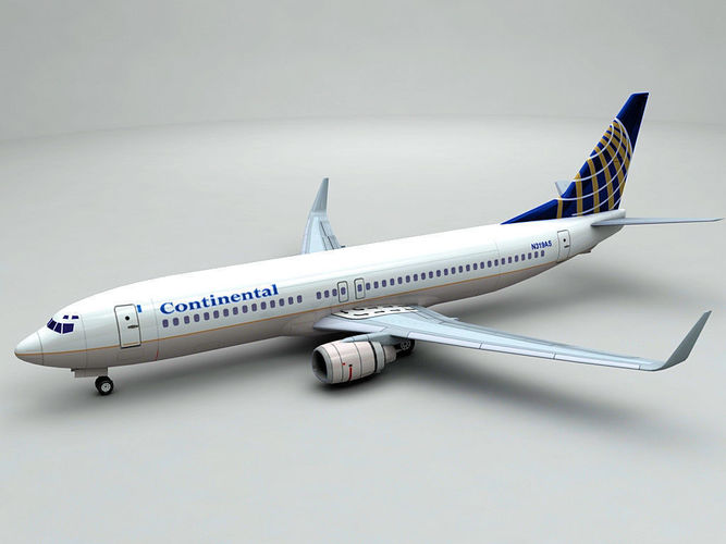boeing 737-800 ng airliner - continental airlines 3d model low-poly max obj 3ds dxf stl wrl wrz 1