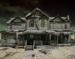 UE4 Abandoned wooden house modular V01 Basic 3D model 2