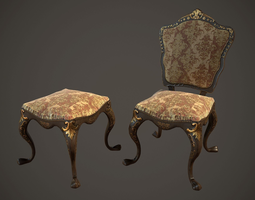 3D model Lowpoly PBR Victorian Dining Chair and Stool