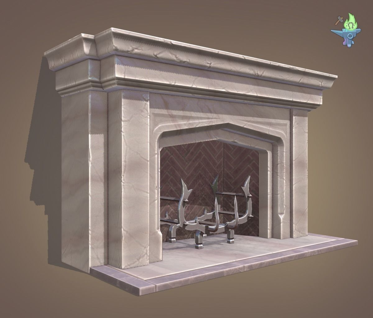 3d model neo gothic fireplace cgtrader