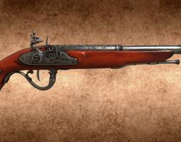 3D model English 18th century flintlock pistol