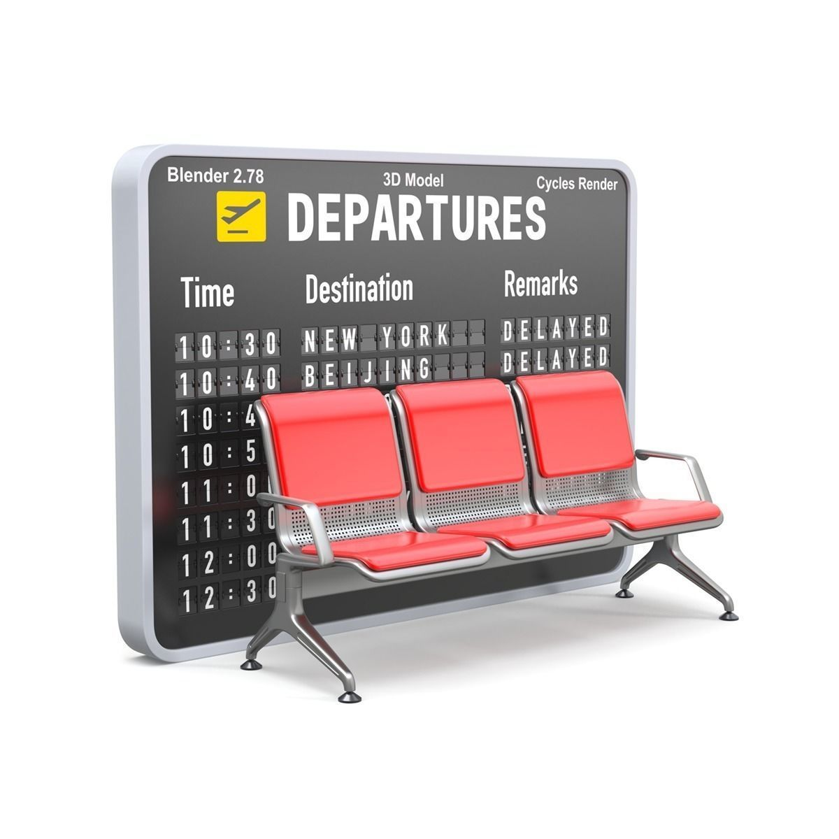 Airport seat with flight Information board