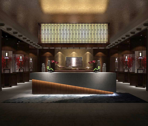 Hotel reception hall design complete 07 3d model for Design hotel 3d