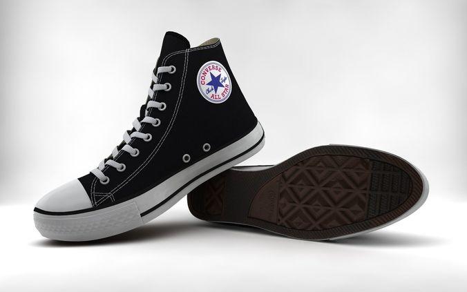 casual shoes chuck taylor hi 3d model obj mtl 3ds fbx c4d 1