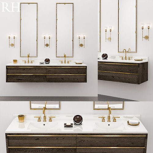 Bezier Double Extra Wide Floating Vanity Model Max Obj Fbx Mtl 1