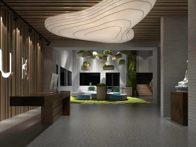 Office Reception Hall Design Complete 18 3d Model Max 1 ...