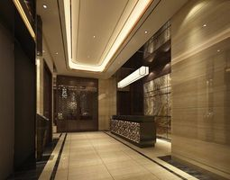 Hotel reception hall design complete 01 3D